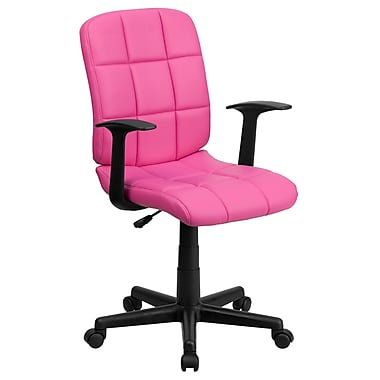 Flash Furniture GO-1691-1-PINK-A-GG Vinyl Mid-Back Task Chair with Fixed Arms, Pink