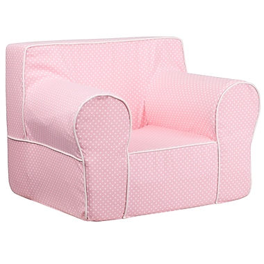Flash Furniture Cotton Twill Oversized Dot Kids Chair With White Piping, Light Pink