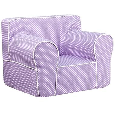 Flash Furniture – Fauteuil pour enfants, gros pois, passepoil blanc, tissu croisé en coton, lavande