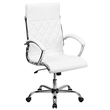 Flash Furniture GO-1297H-HIGH-WHITE-GG Leather Soft High-Back Exec Chair with Fixed Arms, White