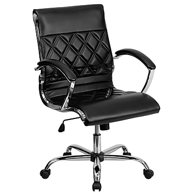 Flash Furniture GO-1297M-MID-BK-GG Leather Soft Mid-Back Exec Chair with Fixed Arms, Black