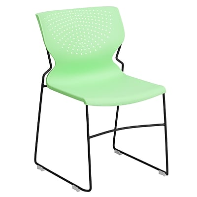 Flash Furniture Hercules Series Polypropylene Stackable Chair With Black Frame, Green 1169067