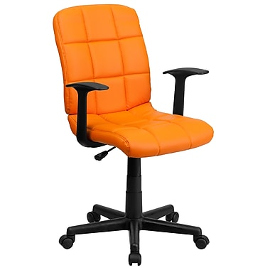 Flash Furniture GO-1691-1-ORG-A-GG Vinyl Mid-Back Task Chair with Fixed Arms, Orange