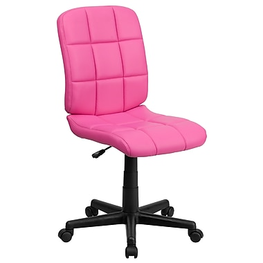 Flash Furniture GO-1691-1-PINK-GG Vinyl Mid-Back Armless Task Chair, Pink
