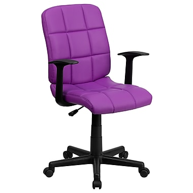 Flash Furniture GO-1691-1-PUR-A-GG Vinyl Mid-Back Task Chair with Fixed Arms, Purple