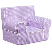 Flash Furniture Cotton Twill Small Dot Kids Chair With White Piping, Lavender
