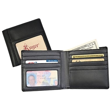 Royce Leather Double ID Hipster Wallet, Black, Silver Foil Stamping, 3 Initials