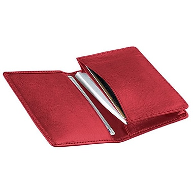Royce Leather Deluxe Business Card Case, Red, Silver Foil Stamping, Full Name
