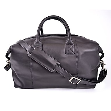 Royce Leather Carry All Overnight Duffle Bag, Black, Silver Foil Stamping, Full Name