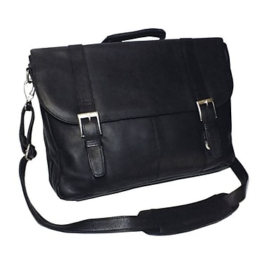 Royce Leather Vaquetta Triple Compartment Laptop Briefcase, Black, Gold Foil Stamping, Full Name