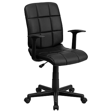 Flash Furniture GO-1691-1-BK-A-GG Vinyl Mid-Back Task Chair with Fixed Arms, Black