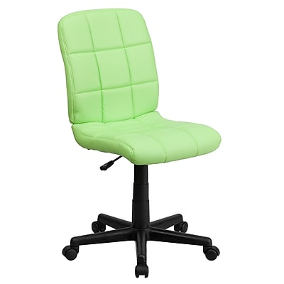 Flash Furniture GO-1691-1-GREEN-GG Vinyl Mid-Back Armless Task Chair, Green