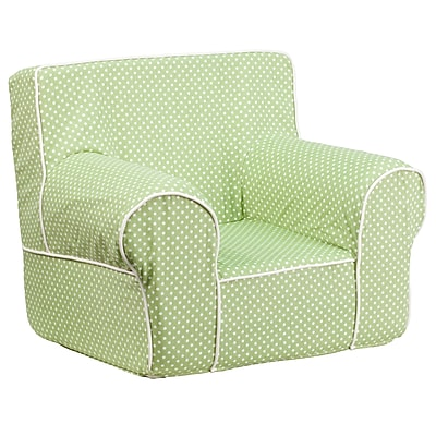 Flash Furniture Cotton Twill Small Dot Kids Chair With White Piping, Green