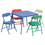 "Flash Furniture 20 1/4"" Kids Colorful 5 Piece Folding Table and Chair Set, Blue/Green/Red/Yellow"