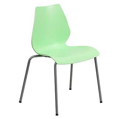 Flash Furniture Hercules Series Polypropylene Stackable Chair With Silver Frame, Green