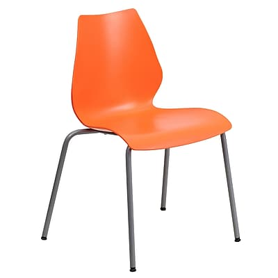 Flash Furniture Hercules Series Polypropylene Stackable Chair With Silver Frame, Orange