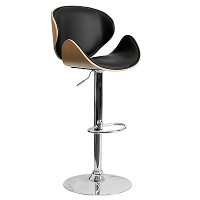 "Flash Furniture 21"" x 20"" Adjustable Height Bar Stool W/Curved Black Vinyl Seat and Back, Beech"