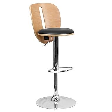Flash Furniture – Tabouret de bar à hauteur ajustable de 16 x 20 po avec siège en vinyle noir et dossier ouvert, hêtre