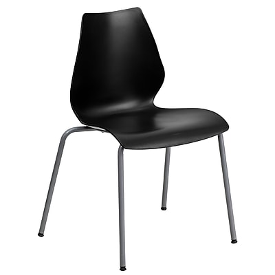 Flash Furniture Hercules Series Polypropylene Stackable Chair With Silver Frame, Black