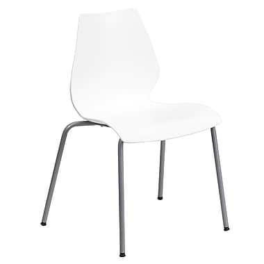 Flash Furniture Hercules Series Polypropylene Stackable Chair With Silver Frame, White