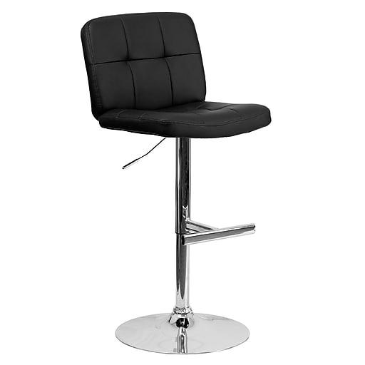 Astonishing Flash Furniture 21 X 23 Tufted Vinyl Adjustable Height Bar Stool W Chrome Base Black Lamtechconsult Wood Chair Design Ideas Lamtechconsultcom