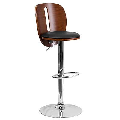 """Flash Furniture 16"""" x 20"""" Adjustable Height Bar Stool with Black Vinyl Seat and Cutout Back, Walnut"""