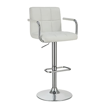 Coaster® Leather Bar Stool With Adjustable Seat and Foot Rest, White