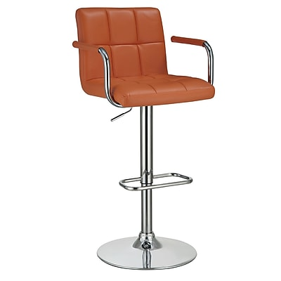 COASTER 43.5'' Contemporary Pedestal Base Leather Bar Stool, Orange (121098)