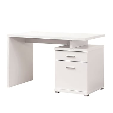COASTER 47.25'' Rectangular Wood/Veneer Contemporary Computer Desk, Crisp White (800110)