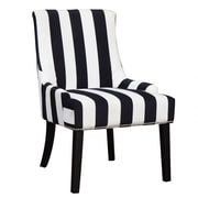 Coaster® Accent Seating Velvet Fabric Accent Chair; Black/White Stripe