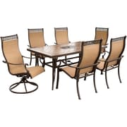 Hanover™ Monaco 7-Piece Outdoor Patio Dining Set, Brown/Tan