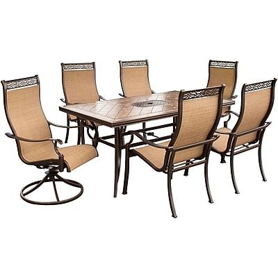 Hanover™ Monaco 7-Piece Outdoor Patio Dining Set, Brown/Tan