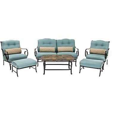 Hanover™ Oceana 6-Piece Lounge Patio Seating Set, Black/Blue