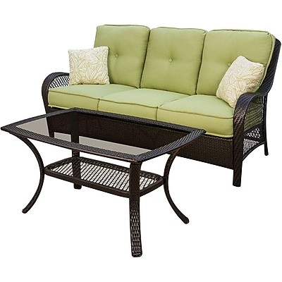 Hanover™ Orleans 2-Piece Patio Seating Set, Brown/Tan/Green