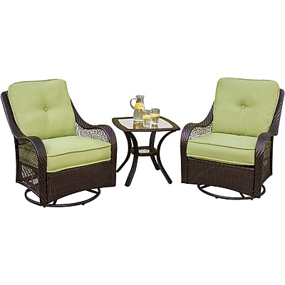 Hanover™ Orleans 3-Piece Patio Lounge Seating Set, Brown/Tan/Green