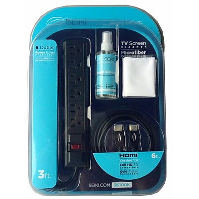Seiki SK100K TV Starter Kit W/HDMI Cable/Surge Protector/Screen Cleaner & Microfiber Cloth