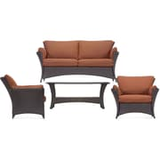 Hanover™ Strathmere Allure 4-Piece Patio Lounging Sofa Set, Brown/Tan/Nutmeg Terra Cotta/Wicker