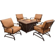 Hanover™ Summer Night 5-Piece Fire Pit Set, Bronze/Copper Metallic/Mandalay