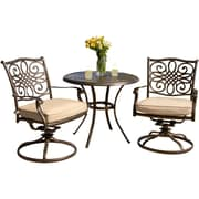 Hanover™ Traditions 3-Piece Patio Bistro Set, Bronze/Copper Metallic/Natural Oat
