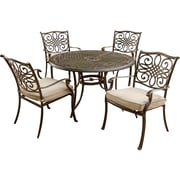 Hanover™ Traditions 5Piece Outdoor Patio Dining Set, Bronze/Copper Metallic/Natural Oat