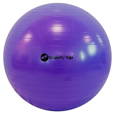 Dragonfly Yoga Premium Anti-Burst Fitness Ball, Purple