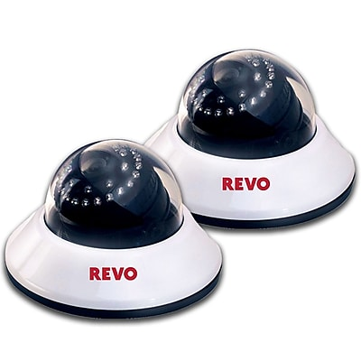 REVO™ RCDS30-2BNDL2 600 TVL Indoor Dome Surveillance Camera With 80' Night Vision, 2/Pack