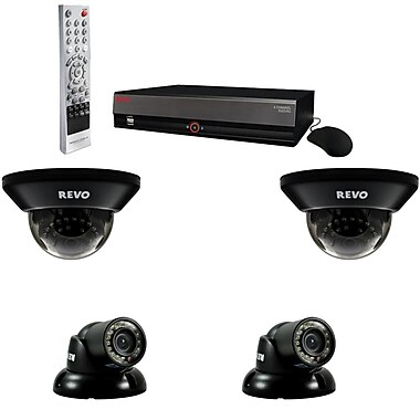 REVO™ 4CH 500GB DVR Surveillance System W/4 700TVL 100' Night Vision Cameras, Gray