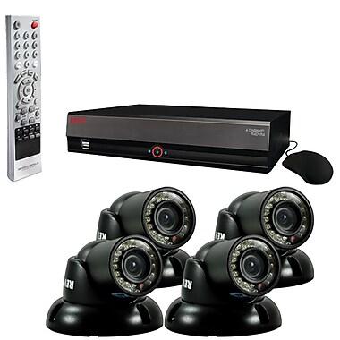 REVO™ 4CH 500GB DVR Surveillance System W/4 700TVL 100' Night Vision Mini Turret Cameras, Black