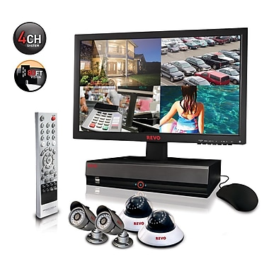 REVO™ 4CH 1TB DVR Surveillance System W/4 600TVL 80' Night Vision Cameras & 18 1/2