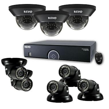 REVO™ 16CH 960H 2TB DVR Surveillance System W/700TVL 3 Dome 5 Mini Turret Cameras, Black