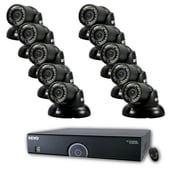 REVO™ 16CH 960H 4TB DVR Surveillance System W/10 700TVL 100' Night Vision Mini Turret Cameras, Black