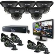 "REVO™ 16CH 960H 4TB DVR Surveillance System W/700TVL 5 Dome 5 Bullet Camera & 21 1/2"" Monitor, Black"