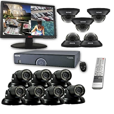 REVO™ 16CH 8TB DVR Surveillance System W/12 700TVL 100' Night Vision Cameras & 23