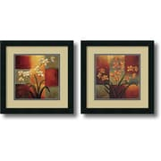 "Amanti Art ""White Orchid, Orange Orchid - Set of 2"" Framed Art by Jill Deveraux"